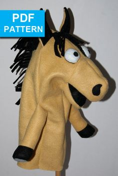 Horse Hand Puppet with a Move-able Mouth by TheTucsonPuppetLady Is there someone in your life who loves horses?  With our detailed sewing instructions and video tutorials, even a beginner sewer can create this cutie! Made with fleece and felt, the puppet is easy to sew. You can make a stable of puppets using different colors!  It's washable so there's no worry about little sticky fingers playing with it. Sized for older children and adult hands, but even preschoolers can have fun!