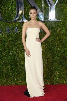 Bella Hadid in a strapless Prabal Gurung dress at the 2015 Tony Awards
