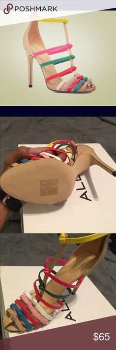 """Aldo """"Asilavia"""" nude-multi colored heels 8 1/2 Really gorgeous Asilavia nude-multi colored heels NEVER BEEN WORN!! Only tried on right shoe. They were a tad too big, paid $110 ALDO Shoes Heels"""