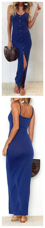 Women's Spaghetti Strap Front Slit Buttons Dress OP:266466 $18.00