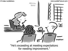 He's exceeding at meeting expectations for needing improvement.