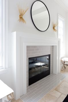 7 Enticing Tips AND Tricks: Fireplace Mantle With Built Ins slate fireplace cabin.Fireplace Insert How To Make fireplace insert foyers.Fireplace And Tv White Mantel. Fireplace Tile Surround, Fireplace Redo, Simple Fireplace, Farmhouse Fireplace, Fireplace Remodel, Living Room With Fireplace, Fireplace Surrounds, Fireplace Design, Home Living Room