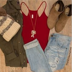 Cute fall outfit! <3 #cute #fall #jeans #beanie #boots #redtshirt   #roses #tumblr #grunge