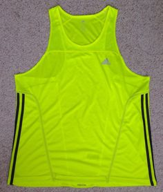 Adidas ClimaLite Dry-Fit RUNNING TANK TOP Neon Yellow Reflective-Logo MENS XL #adidas #ShirtsTops