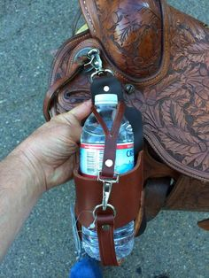 Buckaroo Leather Horse Tack, Use, Care and Maintenance: New Leather Saddle Accessories....Water/Wine Bottle Holder