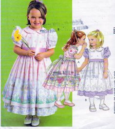 McCalls Girls Size Dresses and Pinafores with Sash, Gathered Skirt, Puff Sleeves, Peter Pan Collar, Back Zipper Closure by OnceUponAnHeirloom on Etsy Barbie Patterns, Dress Patterns, Sewing Patterns, Girls Dresses, Summer Dresses, Little Girl Outfits, Gathered Skirt, Puff Sleeves, Vintage Stuff