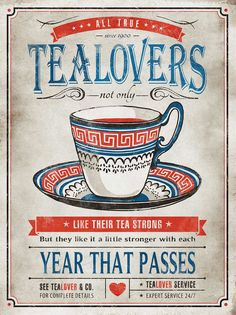 'Tea Lovers' Vintage Canvas Wall Art. Would look good in the shop's tea room.