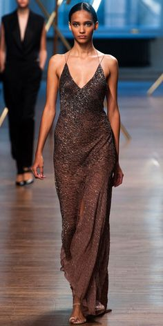 JASON WU: Tobacco embroidered bias cut gown