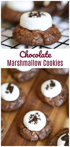 \'Hubba-Hubba' Brownie Chocolate Chip Marshmallow Cookies - Loaded with gooey marshmallow, an abundance of chocolate chips and thick, rich brownie cookies, makes these heavenly delights so chewy, moist and absolutely delicious. Marshmallow Brownies, Chocolate Chip Marshmallow Cookies, Chocolate Covered Marshmallows, Recipes With Marshmallows, Chocolate Brownies, Chocolate Chips, Cocoa Chocolate, Chocolate Chip Muffins, Brownie Cookies