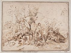Nicolas Poussin (French, 1594–1665), The Nourishment of Jupiter, ca. 1635, pen and brown ink, with reworked patch pasted at center. Nationalmuseum, Stockholm. Photo: Cecilia Heisser / Nationalmuseum.