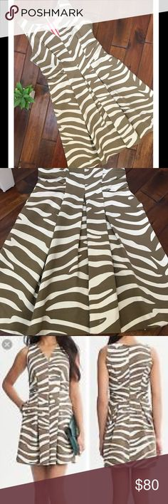 BANANA REPUBLIC ISSA LONDON PONTE DRESS Beautiful olive and cream colored Issa London collection for banana republic ponte zebra print dress. Beautiful and NWOT. Never worn. Excellent quality! Banana Republic Dresses
