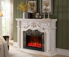 """62"""" Grand White Electric Fireplace at Big Lots."""