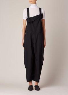 Y's by Yohji Yamamoto Black Salopette Jumpsuit