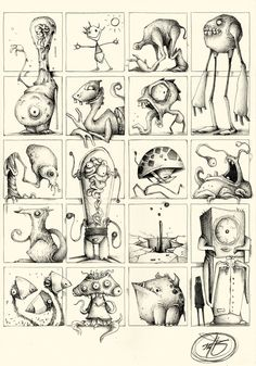 creatures multi PK_M Collection by Paride Bertolin (JAB), via Behance Monster Art, Monster Drawing, Monster Design, Monster Sketch, Cartoon Monsters, Little Monsters, Shetland, Illustration Sketches, Creature Design