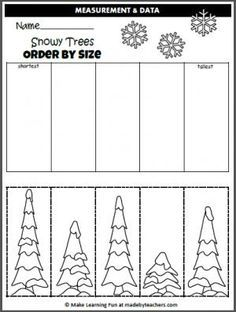 Winter Trees Order By Size (cut and paste) - Madebyteachers Free Winter Order By Size Activity. Cut and paste the trees in order by size. Free Preschool, Preschool Worksheets, Preschool Learning, Preschool Activities, Winter Activities, Printable Worksheets, Printables, Christmas Worksheets, Christmas Math