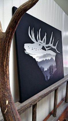 Deer Nature Landscape Bachelor Pad Wall Art Ideas