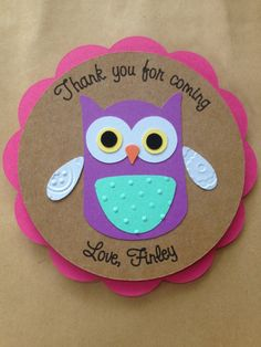 Owl Thank You Label or Tag for Goody Bag for Birthday Party or Baby Shower #owlbirthday #owlbabyshower