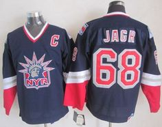 """$34.88 at """"MaryJersey""""(maryjerseyelway@gmail.com) Rangers 68 Jaromir Jagr Navy Blue CCM Statue of Liberty Stitched NHL Jersey"""