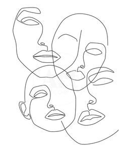 Messy Faces Art Print by Explicit Design - X-Small Face Line Drawing, Simple Face Drawing, Line Drawing Tattoos, Single Line Drawing, Cat Drawing, Tattoo Drawings, Outline Art, Face Outline, Outline Drawings