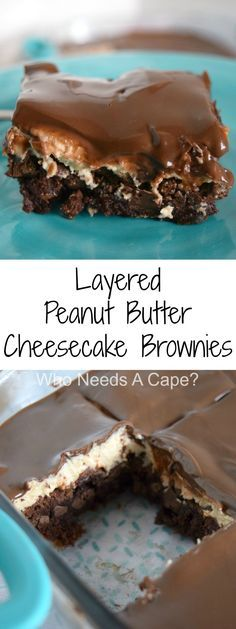 Layered Peanut Butter Cheesecake Brownies - Who Needs A Cape? Layered Peanut Butter Cheesecake Brownies - Who Needs A Cape? Who Needs A Cape? whoneedsacape Baked Treats, Eats & Sweets Layered Peanut Butter Cheesecake Brownies - Who Needs A Cape? Brownie Desserts, Peanut Butter Desserts, Peanut Butter Cheesecake, Oreo Dessert, Cheesecake Brownies, Brownie Recipes, Dessert Bars, Easy Desserts, Cookie Recipes