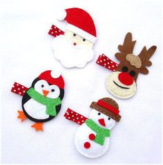 Santa hliday rudolph penguins frosty . Free tutorial with pictures on how to make a hair clip / barrette in under 40 minutes by hairstyling, needleworking, and felting with felt, ribbon, and embroidery thread. Inspired by christmas, penguins, and snowmen. How To posted by CookieBird Lover. in the Needlework section Difficulty: Easy. Cost: Cheap. Steps: 1