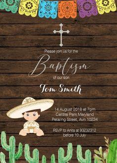 Fiesta Boy Baptism Christening Invitation card
