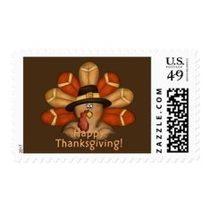 Thanksgiving turkey Holiday greeting stamp