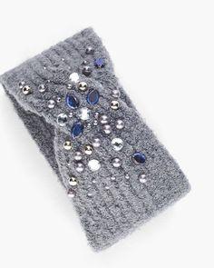 Chico's Cozy Beaded Headband - Knitting Knit Headband Pattern, Knitted Headband, Knitted Hats, Crochet Hats, Knitting Stiches, Knitting Blogs, Knitting For Kids, Jeweled Headband, Crochet Winter