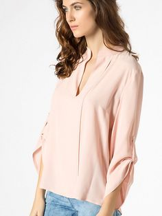 Long sleeve blouse in silk and viscose R349 1