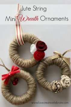 Aren't these the cutest little ornaments you've ever seen! Thank you again, for joining me! This is day two of my eight days of amazing Christmas crafts for my home :) I just LOVE how these mini wreaths turned out. I'm incorporating a lot of red, gold, an Diy Christmas Ornaments, Homemade Christmas, Rustic Christmas, Christmas Projects, Holiday Crafts, Christmas Holidays, Christmas Wreaths, Holiday Tree, Christmas Party Favors