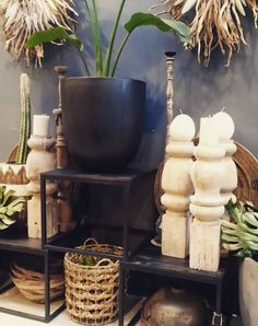 Courtyard inspiration at Saltwater fi xx #courtyard #pots #plants #vintage #sculptures #outdoor #gardens #deck #balconygarden #candleholders #sale #comevisit #inspiration #morningtonpeninsula #sorrentocoast #saltwatersorrento