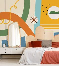 Styling trend 👉 Say goodbye to rectangular headboards as funky shapes behind your bed are the new thing! Go a-symmetric with round shapes and luxurious fabrics for a cool retro look! It's completely on-trend for next years interior predictions 😉 Wallpaper by @sallyfranksdesign at Wallsauce.com 💛#retrodecor #retroaesthetic