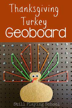 Thanksgiving Turkey Geoboard for Fine Motor Work, Color Identification, Patterns, Geometry, & Symmetry from Still Playing School