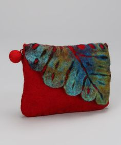 Take a look at this Red Felt Leaf Coin Purse by Rising International on #zulily today!