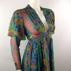 Ossie Clark 1970s Celia Birtwell Printed Dress