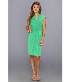 Ellen Tracy Cap Sleeve Printed Ity Surplice Neck Dress