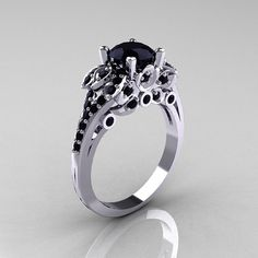 Classic 10K White Gold 10 CT Black Diamond Solitaire by artmasters, $1159.00