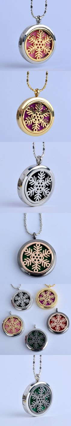 1 pc Girlfriend Gift Round Snow Flower (30mm) Aromatherapy Perfume Diffuser Floating Locket Necklace For Gift