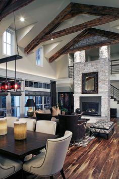 impressive vaulted ceiling design floor to ceiling fireplace open floor plan living room interior