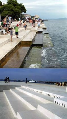 The musical Sea Organ (morske orgulje) is located on the shores of Zadar, Croatia, and is the world's first musical pipe organs that is played by the sea. Simple and elegant steps, carved in white stone, were built on the quayside. Underneath, there are 35 musically tuned tubes with whistle openings on the sidewalk. The movement of the sea pushes air through, and – depending on the size and velocity of the wave – musical chords are played. The waves create random harmonic sounds.