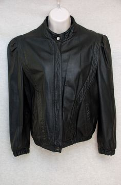 1040b0d66837 Womens Casablanca black leather coat jacket size 9 10 zippered front   Casablanca  BasicLeatherJacket