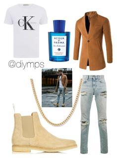 """""""Aqua di uomo"""" by petrasvetlanamelinte on Polyvore featuring Calvin Klein, Yves Saint Laurent, Common Projects, Acqua di Parma, men's fashion and menswear"""
