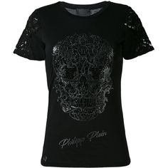 Philipp Plein Embroidered Skull T-shirt (1 465 PLN) ❤ liked on Polyvore featuring tops, t-shirts, skull print t shirt, embroidery tee-shirt, short sleeve tops, short tops and cotton blend t shirts