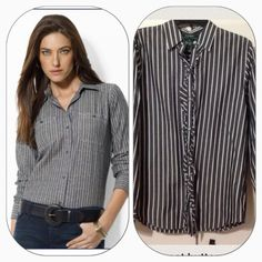 Ralph Lauren great button design Wear it up or down Ralph Lauren Tops