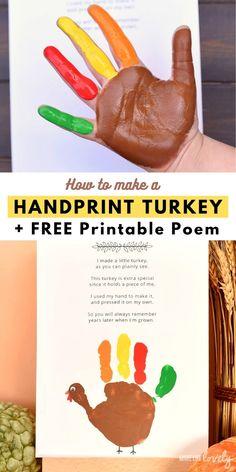 CUTEST Turkey Handprint Craft+ FREE Poem Printable