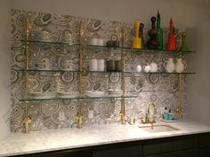 Customized Bistro shelving for a private retail showroom.