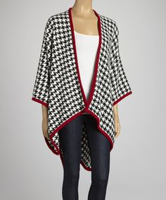 Take a look at this White & Crimson Houndstooth Open Cape on zulily today!