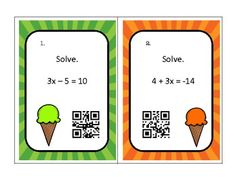 Solving Two Step Equations Task Cards with QR Codes