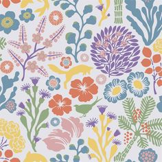 The Borastapeter Rävdunge wallpaper was designed by Hanna Werning as part of her Wonderland collection for Borastapeter. Inspired by the game of life played by wildlife, this boldly illustrative pattern features a scattering of leaping foxes, swimming Wallpaper Samples, Wallpaper Roll, Wallpaper Direct, Green Wallpaper, Wallpaper Online, Pattern Wallpaper, Multicolor Wallpaper, Underwater Plants, Brewster Wallpaper