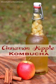 Cinnamon Apple Kombucha | For each 12 or 16 ounce bottle:  1 Tbsp. fruit juice, OR 1 Tbsp. chopped dried fruit, OR 2 Tbsp. chopped fresh fruit – AND/OR 1-2 tsp. spice or herbs